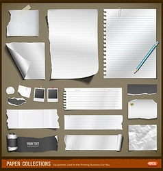 White paper and black paper collections vector image vector image