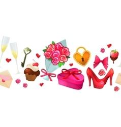 Cartoon valentine horizontal border vector image