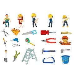 Construction worker set vector image