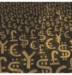 currency symbols grunge background vector image vector image