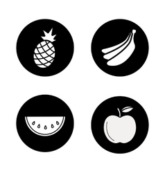Fruit black icons set vector image vector image
