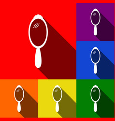 hand mirror sign set of icons with flat vector image