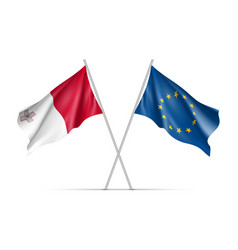 malta and european union waving flags vector image vector image