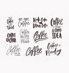 set of coffee lettering isolated on light vector image vector image