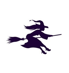 Silhouette witch flying on broom halloween symbol vector