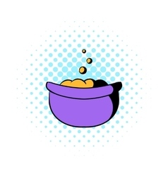 Witch cauldron with potion icon comics style vector image