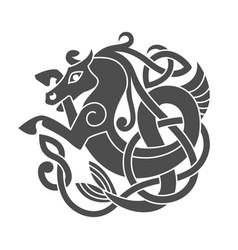 ancient celtic mythological symbol of sea horse vector image vector image