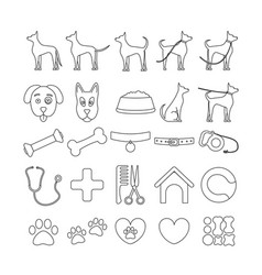 dog set line icons pet symbols and sign vector image