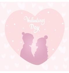 happy couple silhouette vector image