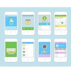 Mobile ui design flat line vector image