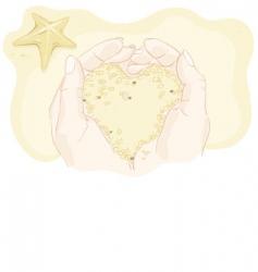 sandy heart in his hands vector image