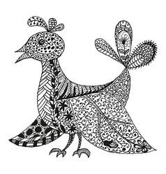 Vintage fantasy stylized bird vector image