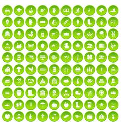 100 farm icons set green circle vector