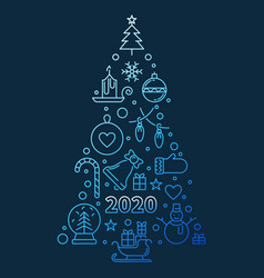 2020 new year tree concept blue outline vector image
