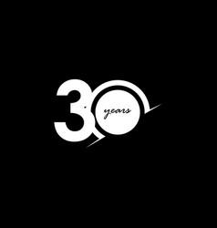30 years anniversary celebration number white vector