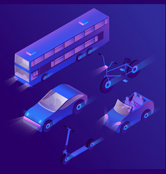 3d isometric urban passenger transportation vector