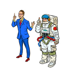 A businessman and an astronaut in spacesuit vector