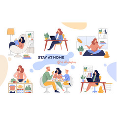 a set for stay-at-home vector image