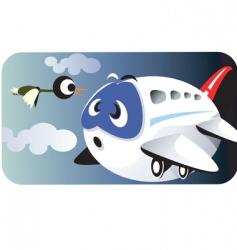 Aeroplane and bird vector