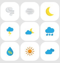 air icons flat style set with moon drip clouds vector image
