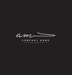 Am initial letter logo handwritten signature logo vector