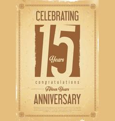 Anniversary retro background 15 years vector