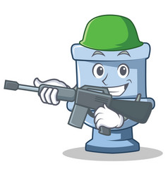Army toilet character cartoon style vector