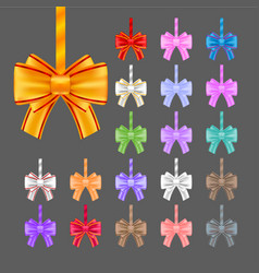 big set of colorful gift bows with ribbons vector image