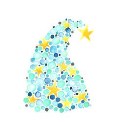 blue ball and star christmas tree watercolor vector image