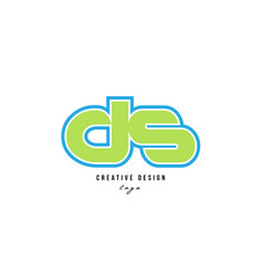 Blue green alphabet letter ds d s logo icon design vector