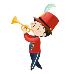 Boy in red band uniform with trumpet vector