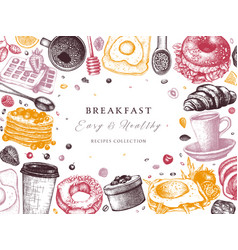breakfast table top view frame morning food menu vector image