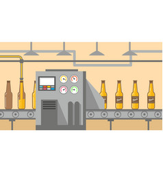 Brewery factory production line pouring alcoholic vector