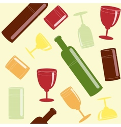 Bright seamless pattern with drinks vector image