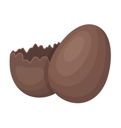 broken chocolate egg easter single icon in vector image
