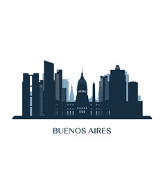 buenos aires skyline monochrome silhouette vector image