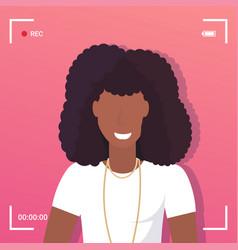 camera screen frame viewfinder rec female african vector image