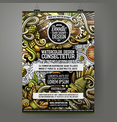 Cartoon hand drawn doodles beer fest poster design vector