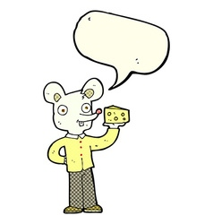 cartoon mouse holding cheese with speech bubble vector image