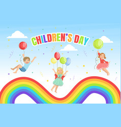 children day banner template happy kids jumping vector image
