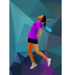 Children sport girl badminton player Color vector