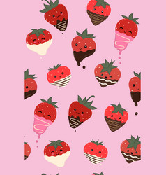 chocolate covered strawberries seamless pattern vector image