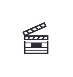 clapperboard icon on white vector image
