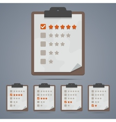 Clipboard with rating stars and checkboxes vector