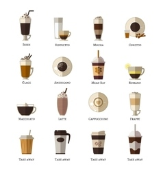 Coffee types flat icons set vector