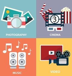Collection of flat and colorful media music video vector