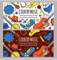 country music banner western festival illus vector image