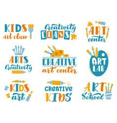 creative art lettering kids art class or studio vector image