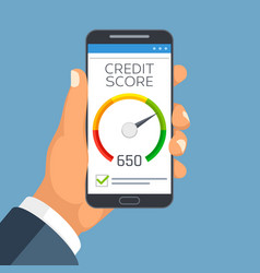 Credit score business report on smartphone screen vector