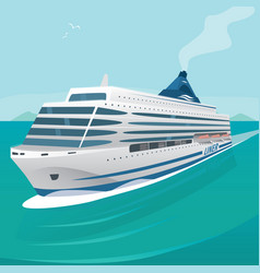 Cruise liner cuts through waves in open sea vector